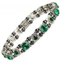 Ladies Magnetic Hematite Crystals Bracelet Pretty Colours Free Gift Box-Emerald