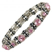 Ladies Magnetic Hematite Crystals Bracelet Pretty Colours Free Gift Box-Rose