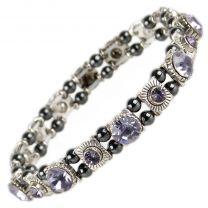 Ladies Magnetic Hematite Crystals Bracelet Pretty Colours Free Gift Box-Violet