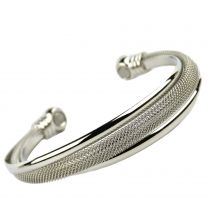 Ladies Magnetic Twisted Mesh Style Bangle 2 Rare Earth Magnets Health Benefits Chrome