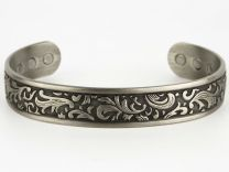 Chunky Copper with Pewter Finish Magnetic Bracelet/Bangle Gothic Design 6 Magnets Health Rare Earth NdFeB